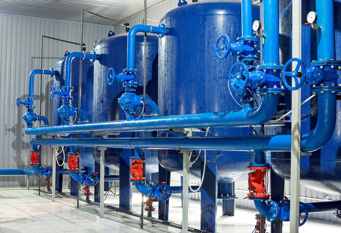 Water purification filter equipment in plant workshop.